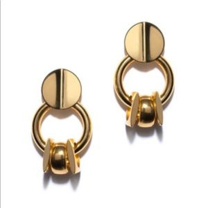 LIZZIE FORTUNATO Retro Link Drop Gold Tone Earring